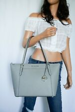NWT MICHAEL KORS CIARA LARGE TOP ZIP TOTE SHOULDER LEATHER BAG PEARL GREY