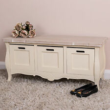 Chic Bedroom Benches With Storage cream wooden storage bench ornate shabby vintage chic furniture drawers home bedroom furniture Cream Wooden Storage Bench Ornate Shabby Vintage Chic Furniture Drawers Home Bedroom Furniture