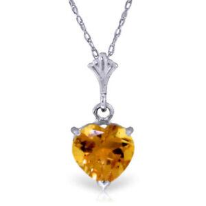 Genuine Citrine Heart Gemstone Pendant Necklace 14K. Yellow, White or Rose Gold