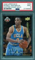 2008-09 upper deck electric court gold #262 RUSSELL WESTBROOK rookie card PSA 9