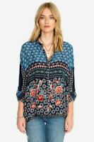 Johnny Was Nara Patchwork Boxy Button-Down Blouse Boho Chic C15919B8 NEW