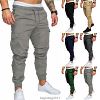 Men's Slim Fit Urban Straight Leg Trousers Casual Pencil Jogger Cargo Pants Hot
