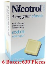 Nicotrol 4mg Classic. 6 Boxes of 105 Pieces each. Nicotine Quit Smoking Gum