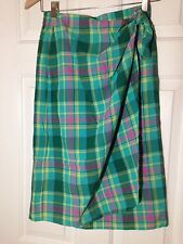 Nice Blue Green Cotton Plaid Faux Wrap Elastic Waist Skirt - Size S - EUC