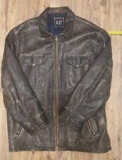 Vintage Mens Gap leather jacket XL Brown / Black Bomber