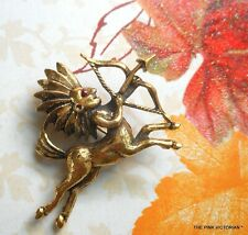 Vintage Mythological Creature Pin Heavy Textured Gold Tone Minotaur Figural 2""