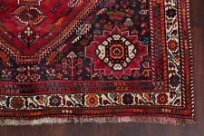 Vintage Tribal Geometric Abadeh Area Rug 6'x9' Wool Hand-Knotted Deep Red Carpet