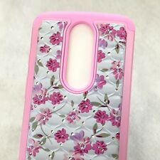 For Motorola Droid Turbo 2 - HARD & SOFT HYBRID ARMOR DIAMOND CASE PINK FLOWERS