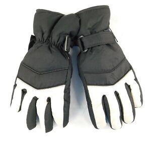 Women's Black and White 40 g Thinsulate Waterproof Ski Gloves Medium/Large