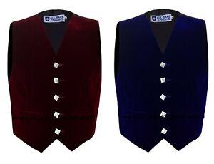 Scottish Formal Velvet Waistcoats/Vests - 3 Colors - Sizes 36 - 56