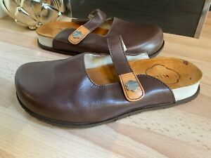 Kickers Brown Leather Flat Mule Clog Sandals Shoes Womens Uk 5 Vgc #sb