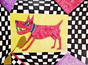 Kimberly Helgeson Sams 11x14 dog outsider art print SIGNED Pink Guard Dog