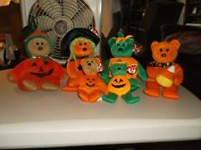 "Lot of 6 Ty Beanie Babies Beanie Bears Halloween ""Tricky/Spells/Curly/Treator"""