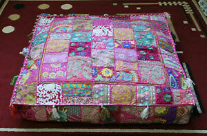 """Embroidered square 16"""" Pink cotton Boho patchwork heavy duty ottoman puff cover"""
