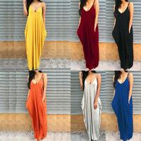 Women's Dresses Loose Summer Boho Long Maxi Dress Deep V Neck Sundress Plus Size