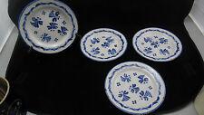 Suite de 4 assiettes en faience XIX ème, décor à la brindille
