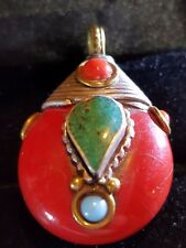 Turquoise AND RED CORAL SILVER ROND SHAPED PENDANT