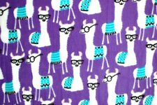 LIBRARY WHITE LLAMAS WITH GLASSES ON PURPLE FLEECE MATERIAL 2 YDS 60x72