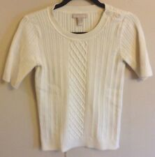 Women's Banana Republic Ivory Short Sleeve Button Shoulder Cable Sweater Size M