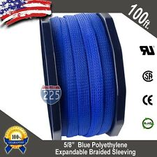 """100 FT. 5/8"""" Blue Expandable Wire Cable Sleeving Sheathing Braided Loom Tubing"""