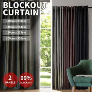 2X Blockout Curtains Blackout 3 Layers Window Curtain Draperies Eyelet Bedroom