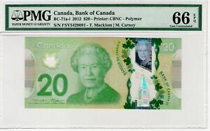 BANK OF CANADA - 20 Dollars 2012 - PMG 66 EPQ Gem Uncirculated Polymer BC-71a-i