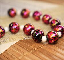10x lackierte Glasperlen Perlen Beads Schmuck DIY Pink Gold abstrakt 10mm Kugel