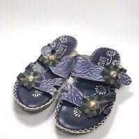 Spring Step L'artiste Blue Leather Flower Size US 7.5 Size 38 EUR Sandals