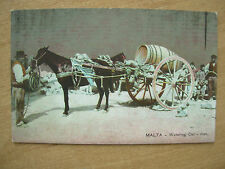 VINTAGE POSTCARD MALTA - WATERING CAR MAN - HORSE AND CART