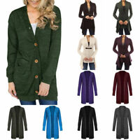 Women Long Sleeve Loose Tops Knitted Fluffy Cardigan Sweater Outwear Coat Jacket