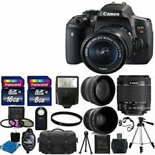 Canon EOS Rebel T6i DSLR Camera + 3 Lens 18-55 STM +24GB KIT & More Brand New