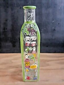 "Hand Painted Multicolored Art Glass Bottle -8 1/4"" Tall"