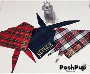 HANDMADE TARTAN DOG/CAT  BANDANA WITH TIES  PERSONALISED NECKERCHIEF RED GREEN