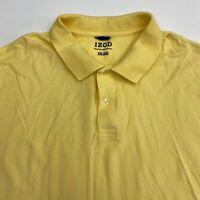 Izod Polo Shirt Men's Size 2XL XXL Short Sleeve Yellow Casual 100% Pima Cotton