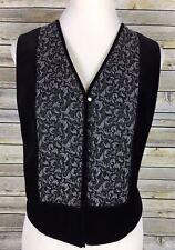 M.T. Morgan Studio Women's Vest Sz M V-Neck Sleeveless Button Down Velour Black