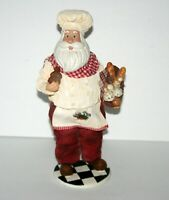 Santa Claus Baking Christmas Cookies Bread, Figurine Chef Baker Clothtique Adler