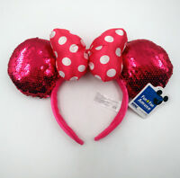 Disney Parks Pink Spots Bow Sequins Mickey Minnie Mouse Ears Party Cos Headband
