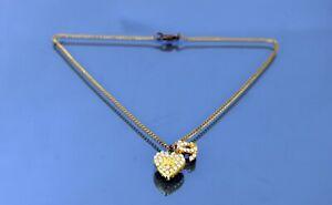 Auth CHANEL CC Logo Heart Pendant Gold Tone Chain Necklace Vintage Accessories