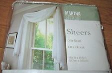 "New Martha Stewart White Sheer Scarf Drape Curtain Ball Fringe 56"" x 144"" Window"