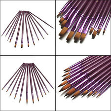 12Pcs Purple Hair Art Artist Painting Brushes Set For Oil Paint Acrylic Paint