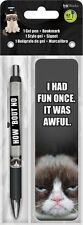 GRUMPY CAT - GEL PEN & BOOKMARK - BRAND NEW - FUNNY 3539