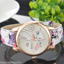 FL New Fashion Girl Cartton Cat Dial Quartz Antlog Watch Student Wrist Watch