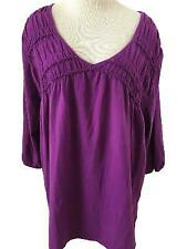 JMS knit top Size 4X 26W 28W purple with smocking 3/4 sleeve stretch