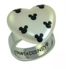 NEW Disney Couture Mickey Mouse Heart Ring Black White Size 8