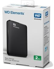 WD western digital Elements 2TB USB 3.0 Portable External Hard Drive Black UK