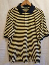 Mens Masters Collection S/S Pima cottn Striped blue/yellow Polo Golf Shirt L A34