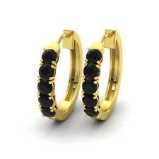 Certified 14K Yellow Gold 1.37 Carat Natural Black Diamond Hoop Huggie Earrings