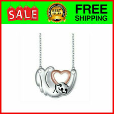925 Sterling Silver Cute Animal Sloth Heart Pendant Necklace Gift for Women