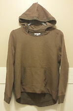 New AEROPOSTALE Brown Sweatshirt Front Cable Knit Hooded Sweater Hi Lo XL Ribbed