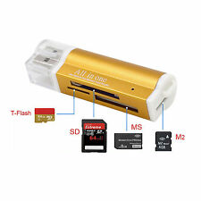 Kartenlesegerät Kartenleser Card Reader Micro SD MMC M2 USB Stick in gold